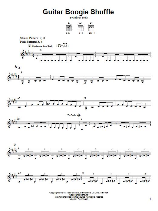 The Virtues Guitar Boogie Shuffle sheet music notes printable PDF score