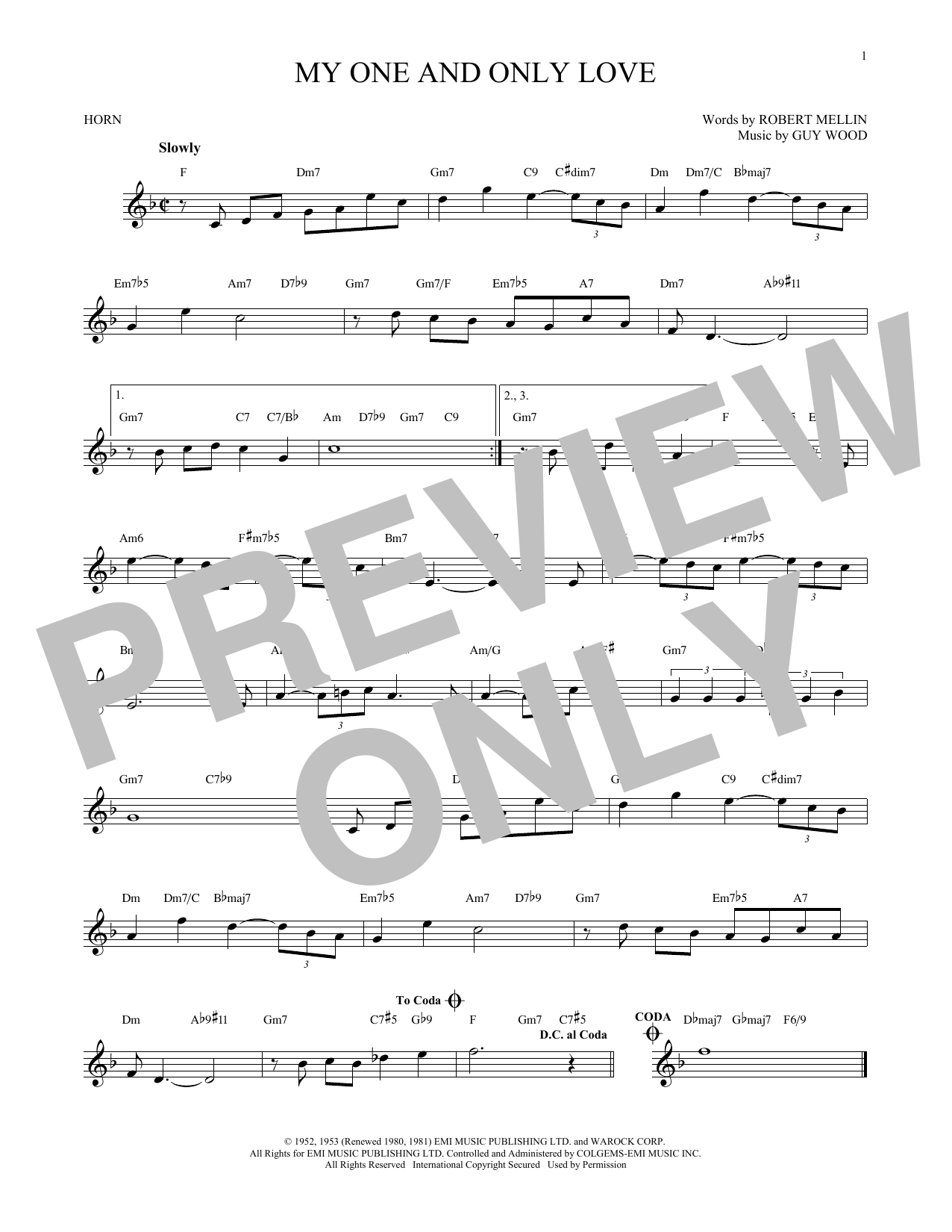 Guy Wood My One And Only Love sheet music notes and chords - download printable PDF.