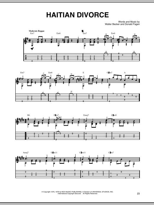 Steely Dan Haitian Divorce sheet music notes printable PDF score