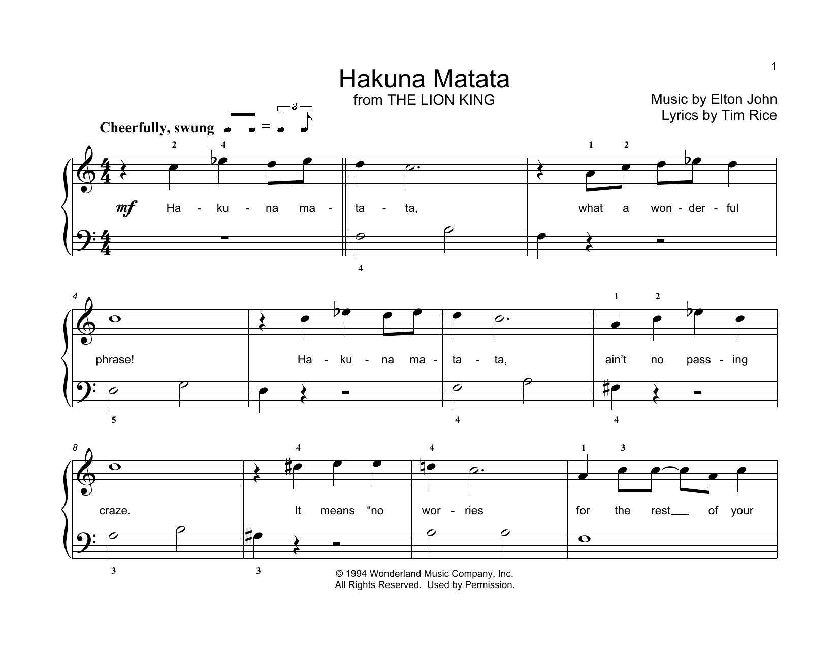 Elton John Hakuna Matata (from The Lion King) (arr. Christopher Hussey) sheet music notes printable PDF score