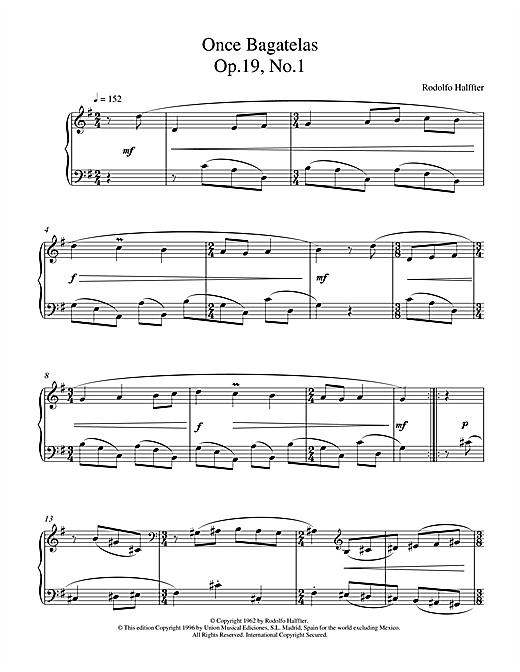 Halffter Once Bagatelas Op19 No1 sheet music notes printable PDF score