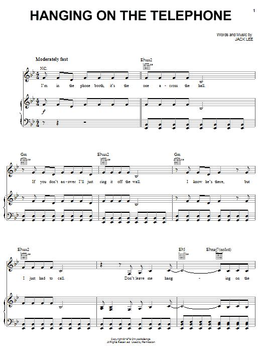 Blondie Hanging On The Telephone sheet music notes printable PDF score