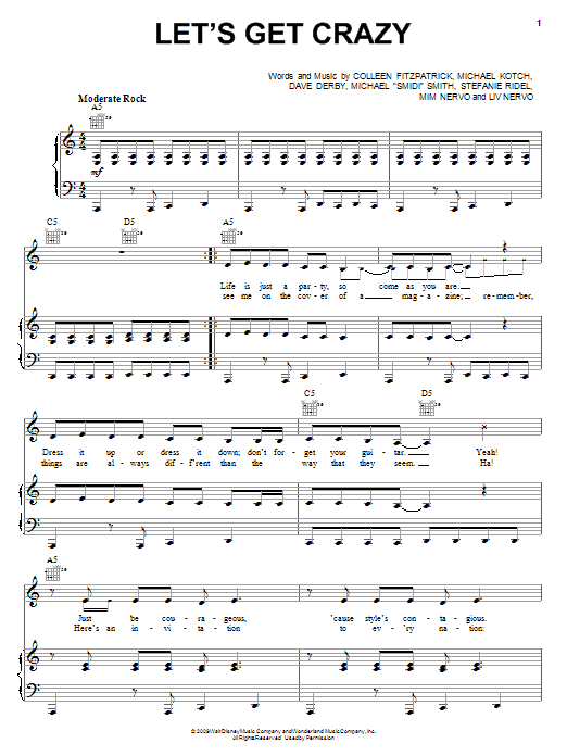 Hannah Montana Let's Get Crazy sheet music notes and chords. Download Printable PDF.