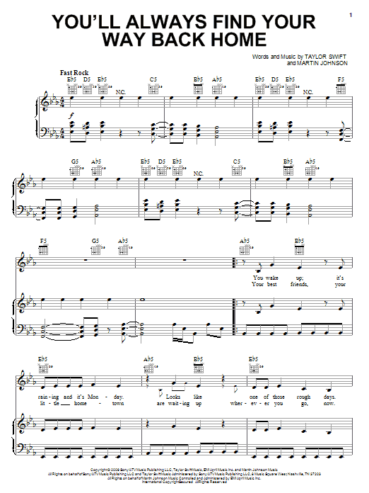Hannah Montana You'll Always Find Your Way Back Home sheet music notes and chords - download printable PDF.