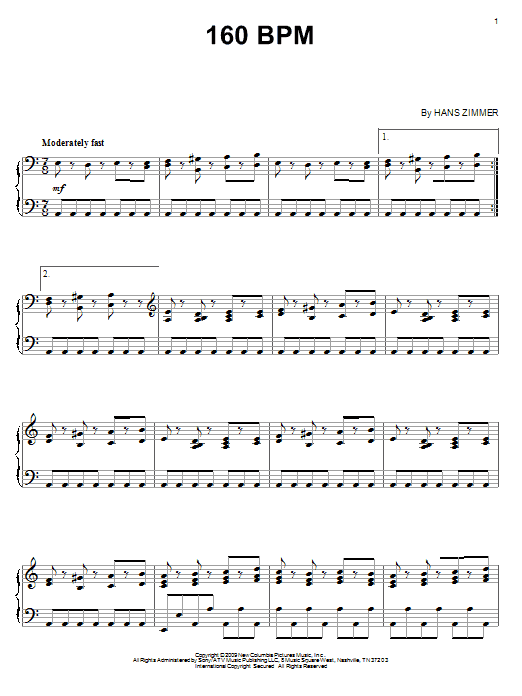 Hans Zimmer 160 BPM sheet music notes and chords - download printable PDF.