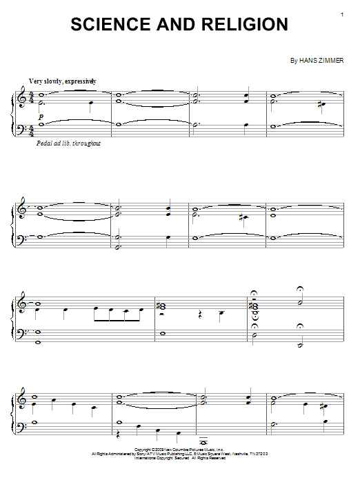 Hans Zimmer Science And Religion sheet music notes and chords. Download Printable PDF.
