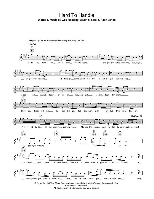 Otis Redding Hard To Handle sheet music notes printable PDF score