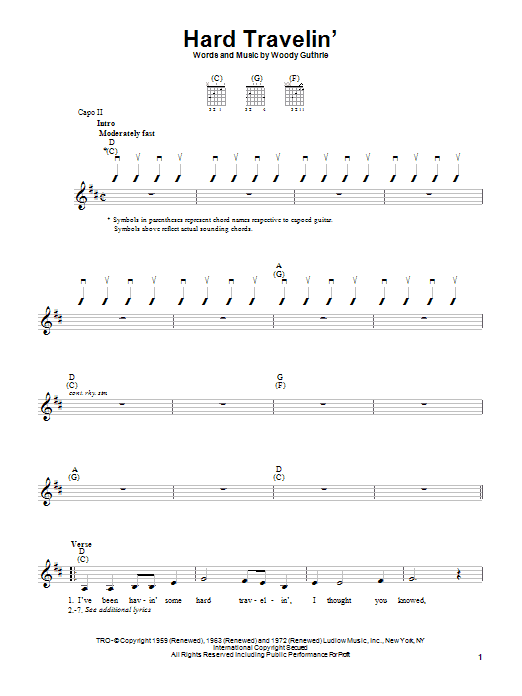 Woody Guthrie Hard Travelin' sheet music notes printable PDF score