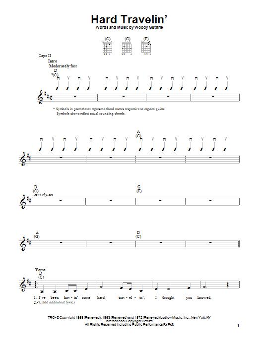 Woody Guthrie Hard Travelin' sheet music notes printable PDF score