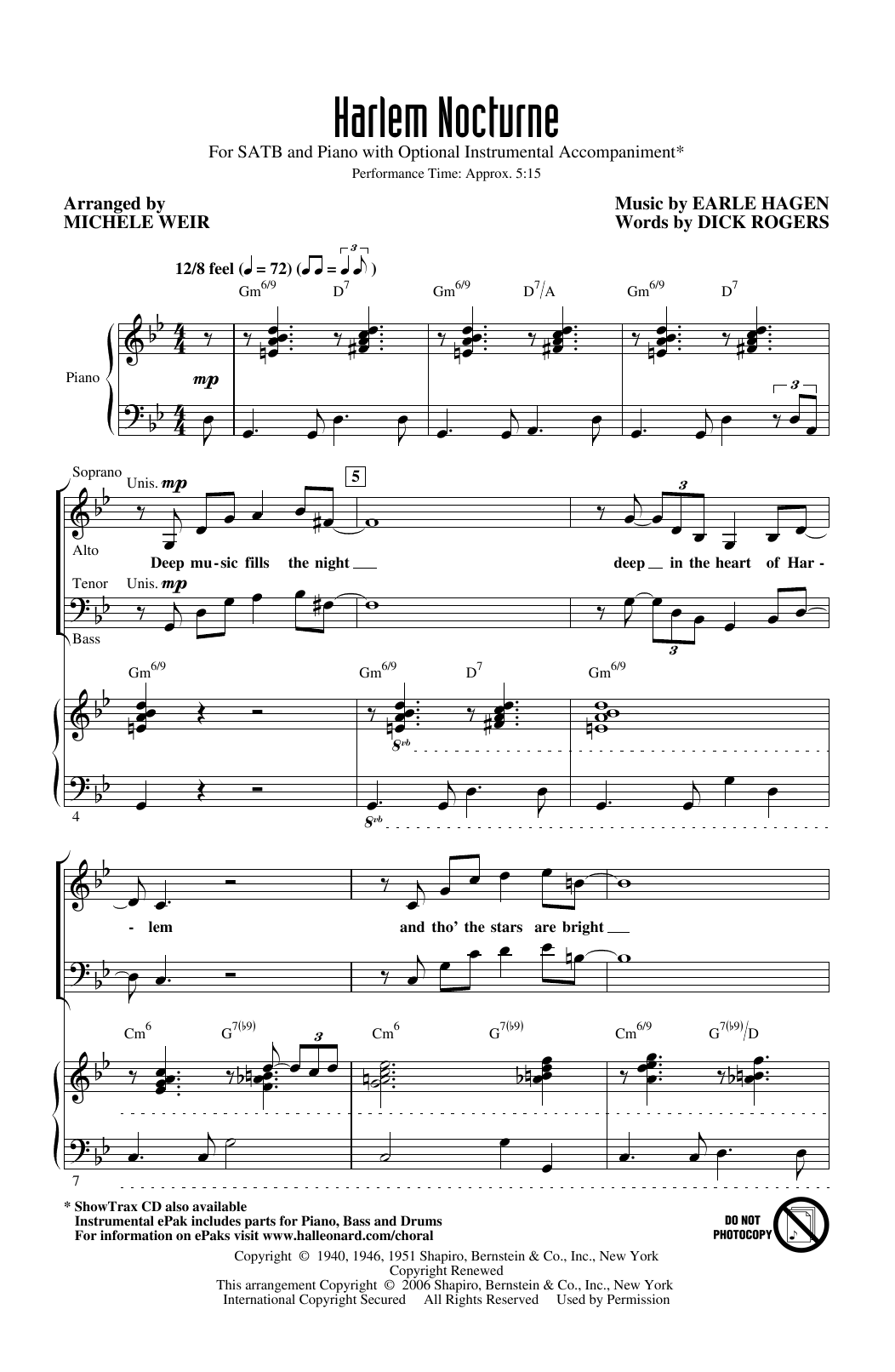 Earle Hagen and Dick Rogers Harlem Nocturne (arr. Michele Weir) sheet music notes printable PDF score