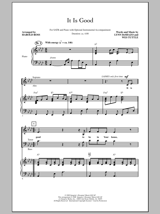 Harold Ross It Is Good sheet music notes and chords. Download Printable PDF.