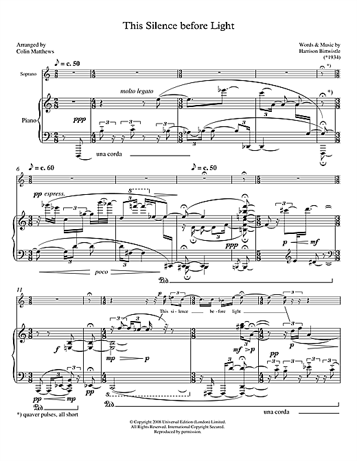Harrison Birtwistle This Silence before Light (for soprano & piano) sheet music notes printable PDF score