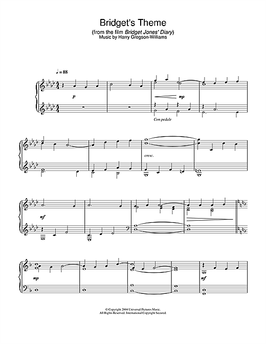 Harry Gregson-Williams Bridget's Theme (from Bridget Jones's Diary) sheet music notes printable PDF score