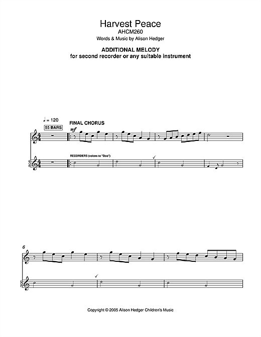 Alison Hedger Harvest Peace (Additional Melody Part) sheet music notes printable PDF score