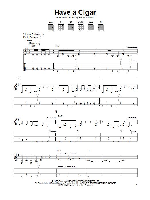 Pink Floyd Have A Cigar sheet music notes printable PDF score