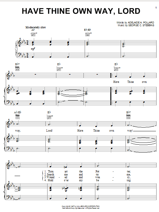 Adelaide A. Pollard Have Thine Own Way, Lord sheet music notes printable PDF score