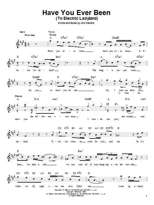 Jimi Hendrix Have You Ever Been (To Electric Ladyland) sheet music notes printable PDF score