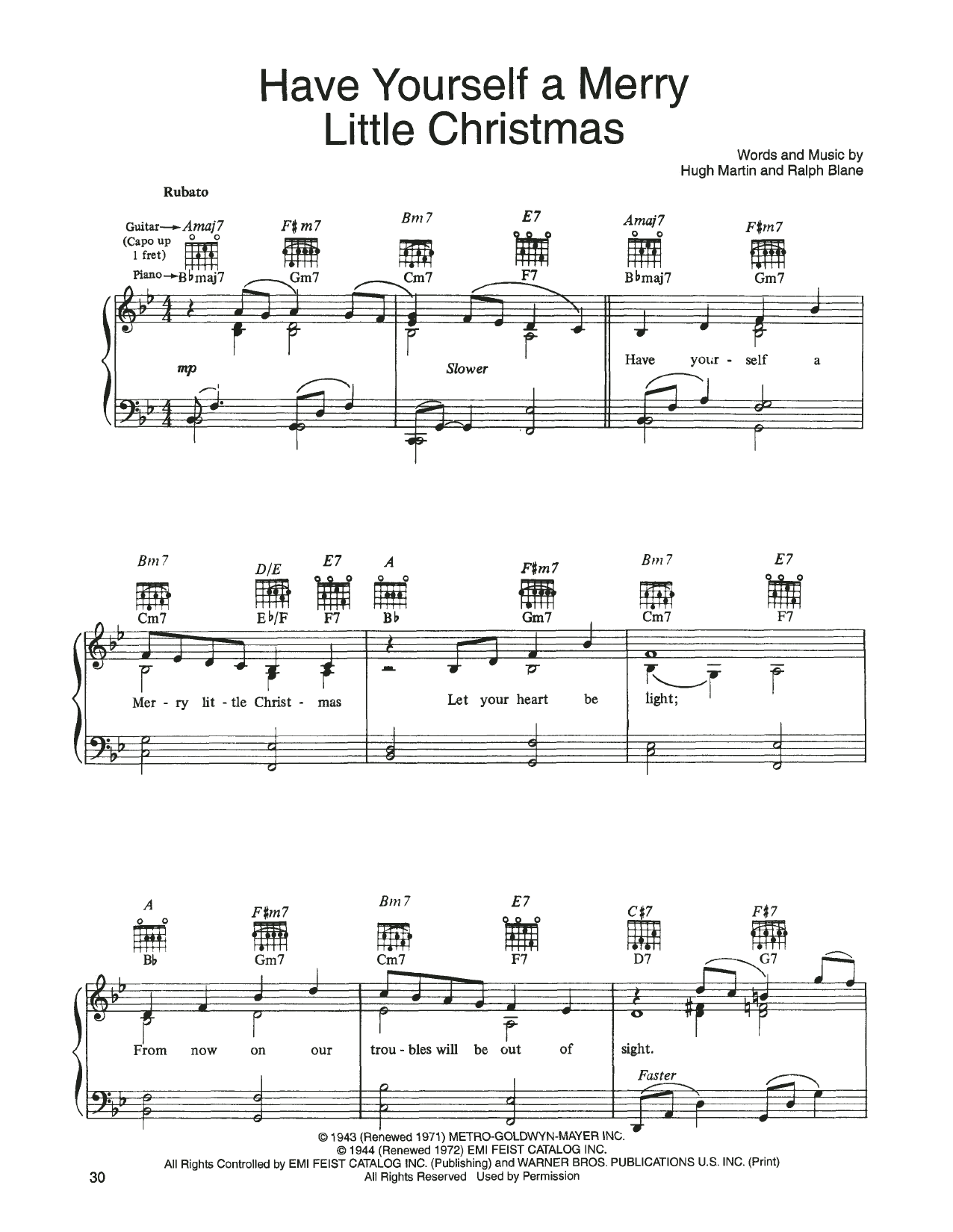John Denver and The Muppets Have Yourself A Merry Little Christmas (from A Christmas Together) sheet music notes printable PDF score