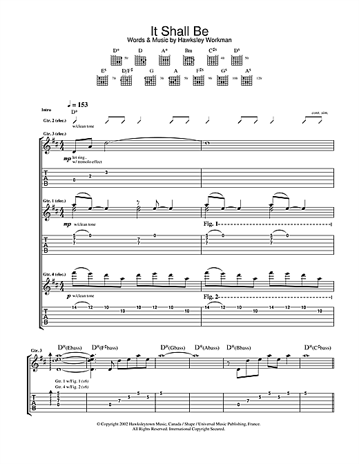 Hawksley Workman It Shall Be sheet music notes printable PDF score