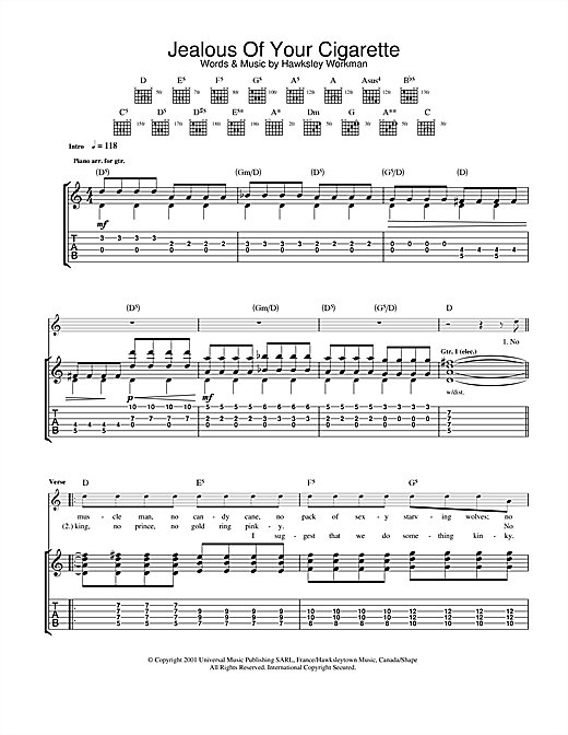 Hawksley Workman Jealous Of Your Cigarette sheet music notes printable PDF score