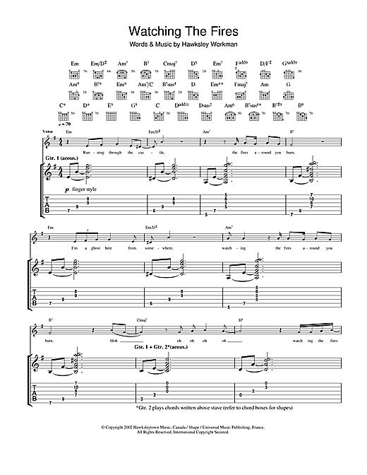 Hawksley Workman Watching The Fires sheet music notes printable PDF score