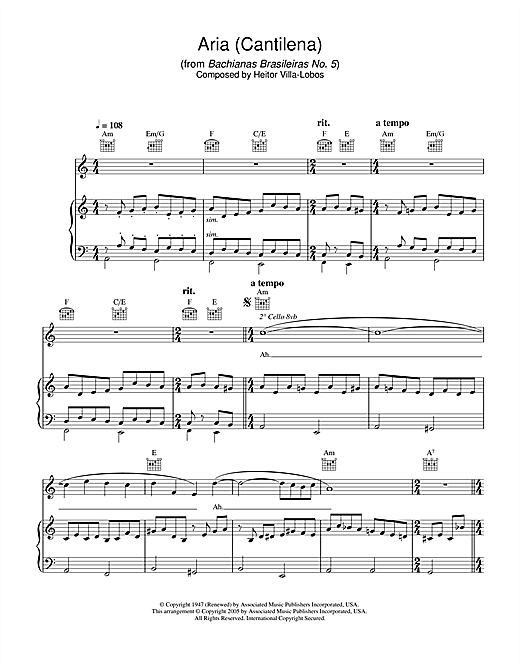 Hayley Westenra Aria (Cantilena) from Bachianas Brasileiras No. 5 sheet music notes printable PDF score