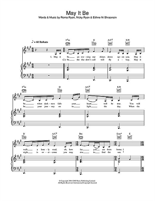 Hayley Westenra May It Be sheet music notes printable PDF score