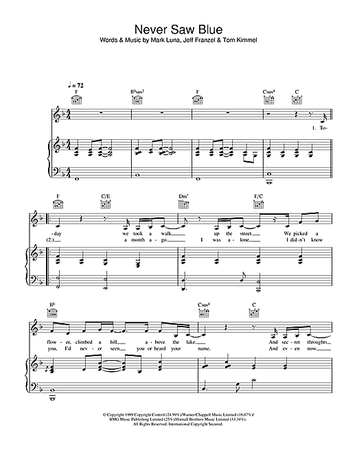Hayley Westenra Never Saw Blue sheet music notes printable PDF score