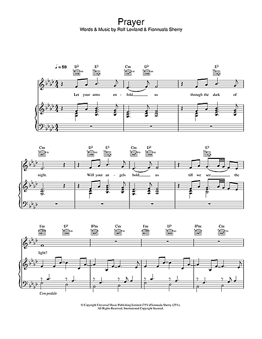 Hayley Westenra Prayer sheet music notes printable PDF score
