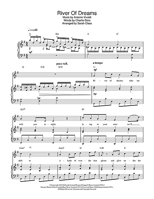 Hayley Westenra River Of Dreams sheet music notes printable PDF score