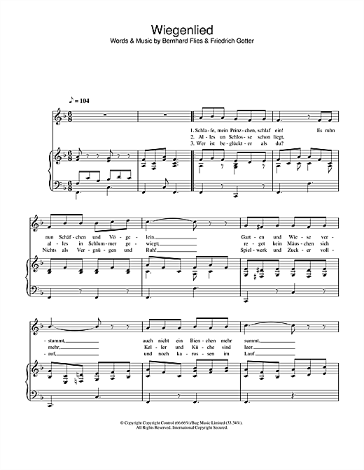 Hayley Westenra Wiegenlied sheet music notes printable PDF score