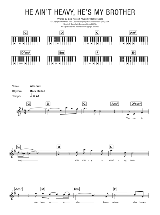 The Hollies He Ain't Heavy, He's My Brother sheet music notes printable PDF score