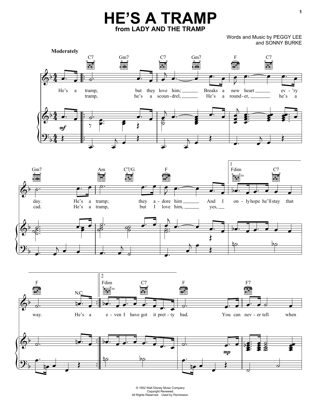 Peggy Lee He's A Tramp (from Lady And The Tramp) sheet music notes printable PDF score