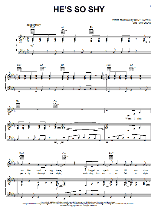 The Pointer Sisters He's So Shy sheet music notes printable PDF score