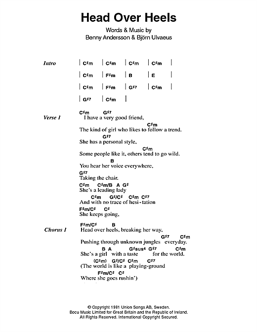 ABBA Head Over Heels sheet music notes printable PDF score