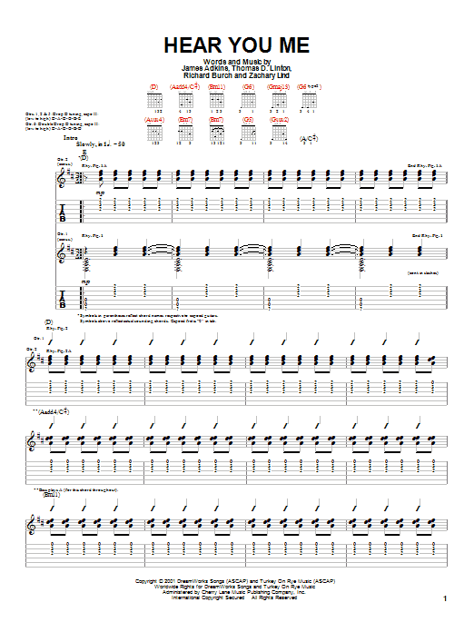 Jimmy Eat World Hear You Me sheet music notes printable PDF score