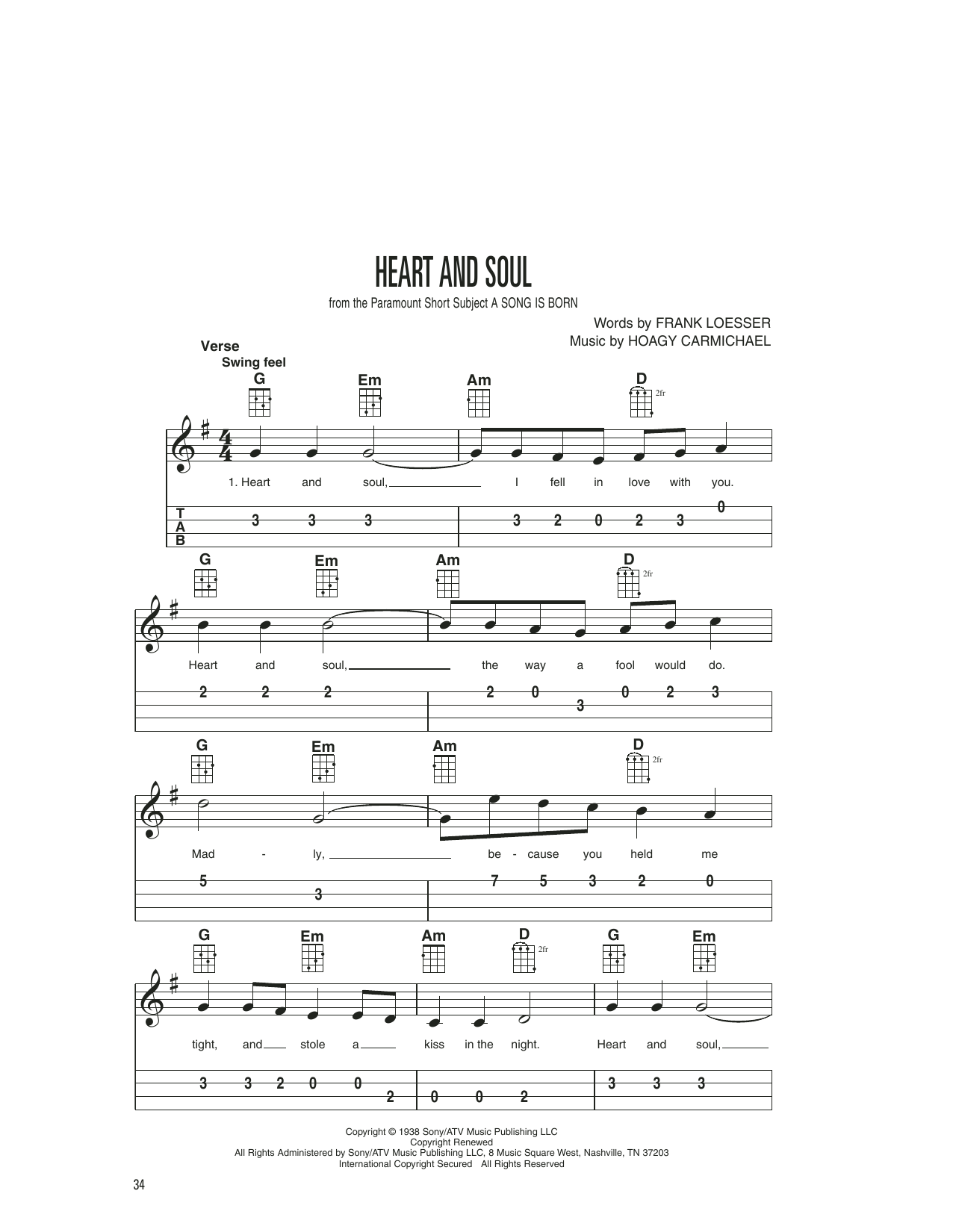 Frank Loesser Heart And Soul sheet music notes printable PDF score