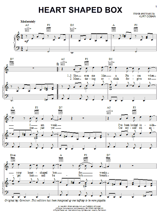 Nirvana Heart Shaped Box sheet music notes printable PDF score