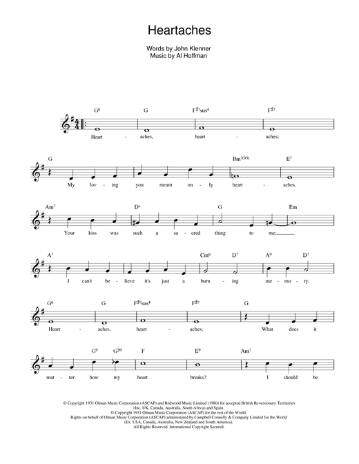 Klenner And Hoffman Heartaches sheet music notes printable PDF score