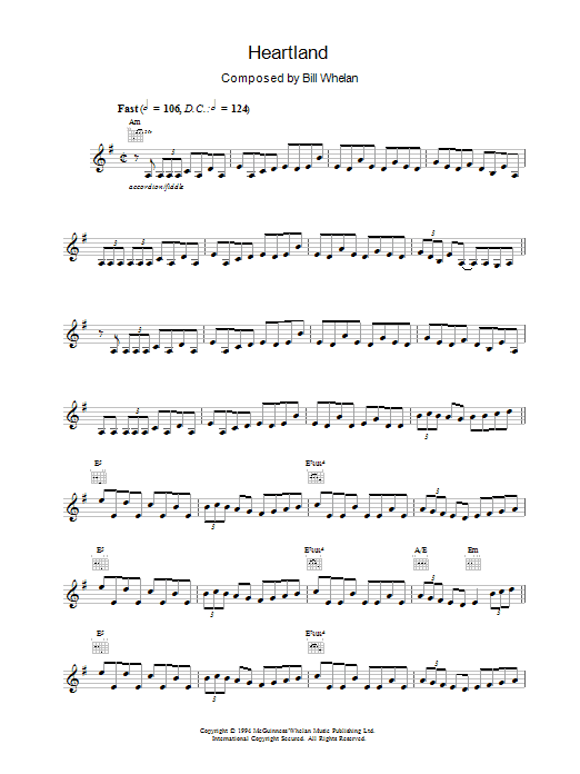 Bill Whelan Heartland (from Riverdance) sheet music notes printable PDF score