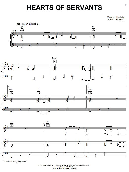 Shane & Shane Hearts Of Servants sheet music notes printable PDF score