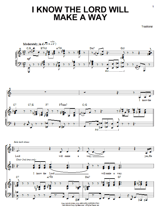 Heather Headley I Know The Lord Will Make A Way sheet music notes and chords - download printable PDF.