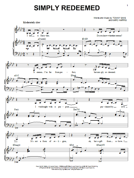 Heather Headley Simply Redeemed sheet music notes and chords. Download Printable PDF.