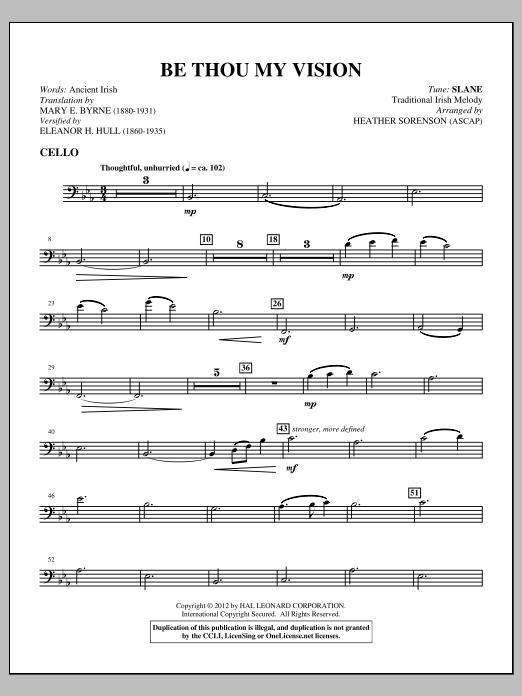 Heather Sorenson Be Thou My Vision - Cello sheet music notes printable PDF score