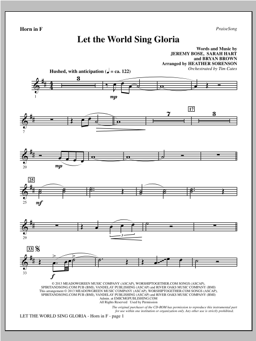 Heather Sorenson Let The World Sing Gloria - F Horn sheet music notes and chords. Download Printable PDF.