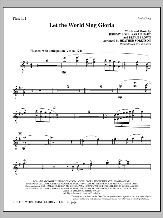 Heather Sorenson Let The World Sing Gloria - Flute 1 & 2 sheet music notes and chords. Download Printable PDF.
