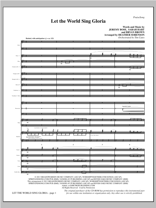Heather Sorenson Let The World Sing Gloria - Full Score sheet music notes and chords. Download Printable PDF.