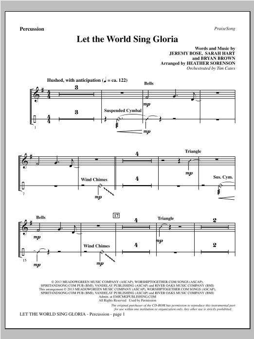 Heather Sorenson Let The World Sing Gloria - Percussion sheet music notes and chords. Download Printable PDF.
