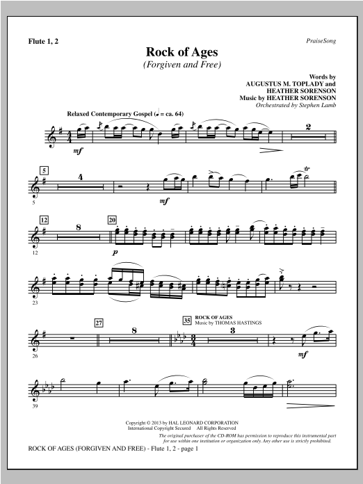 Heather Sorenson Rock of Ages (Forgiven and Free) - Flute 1 & 2 sheet music notes and chords. Download Printable PDF.