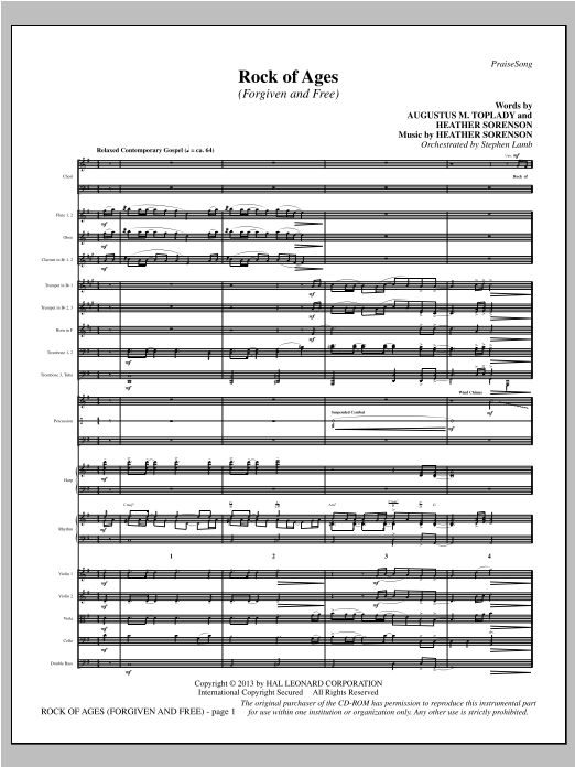 Heather Sorenson Rock of Ages (Forgiven and Free) - Full Score sheet music notes and chords. Download Printable PDF.